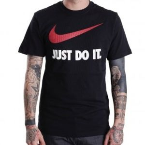 Nike Black Tshirt W Red Swoosh